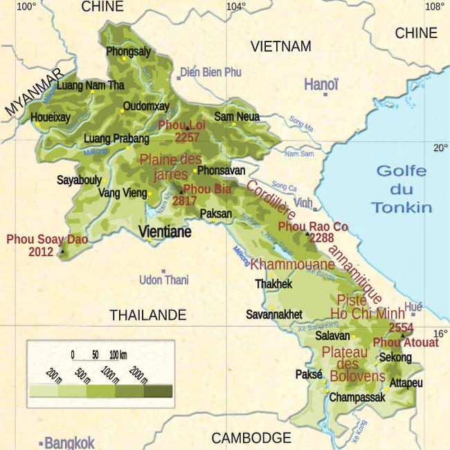 Carte géographique du Laos