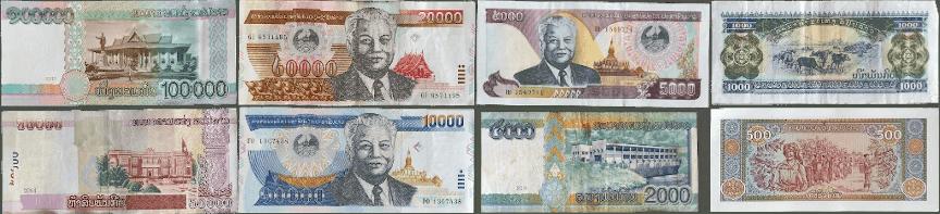 les différents billets du Lao Kip.