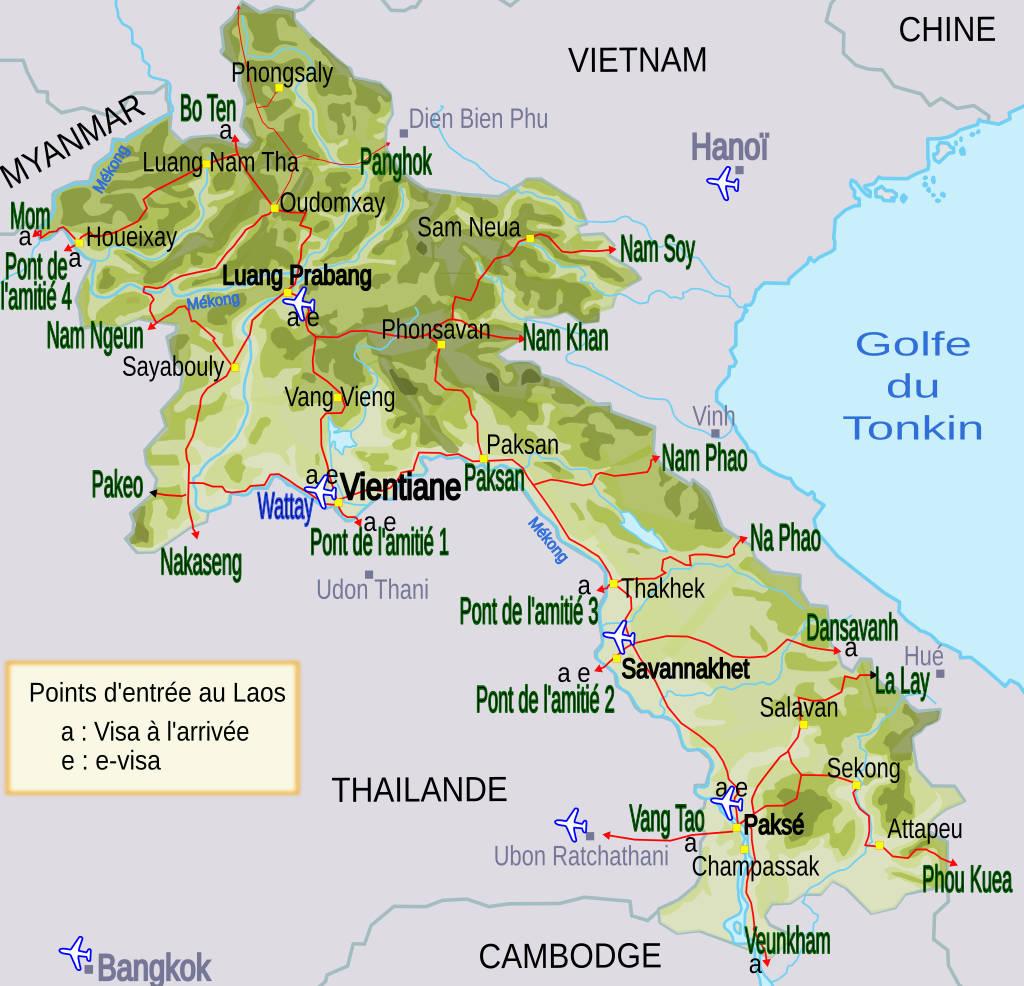 Carte des points d'entrée au Laos.