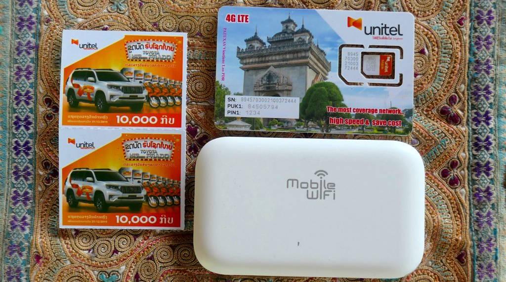 Carte sim et boitier 4G au Laos.