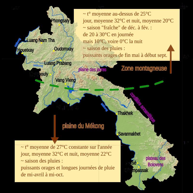Carte météorologique du Laos.