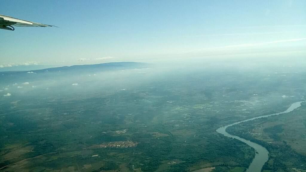 Vue sur le Mékong depuis un avion.